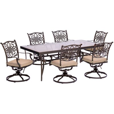 Barryton 7 Piece Outdoor Dining Set with Cushions Cushion Color: Natural Oat