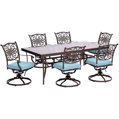 Barryton 7 Piece Outdoor Dining Set with Cushions Cushion Color: Blue