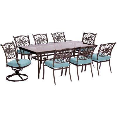 Barryton 9 Piece Rectangular Glass Top Dining Set with Cushions Cushion Color: Ocean Blue