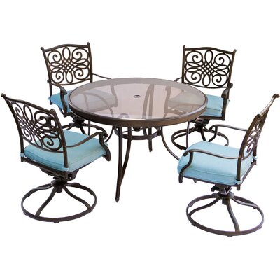 Barryton 5 Piece Outdoor Dining Set with Cushions Cushion Color: Blue