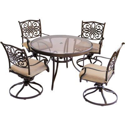 Barryton 5 Piece Outdoor Dining Set with Cushions Cushion Color: Natural Oat