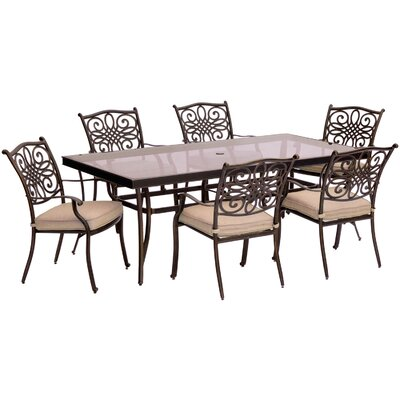 Barryton 7 Piece Aluminum Dining Set with Cushions Cushion Color: Natural Oat