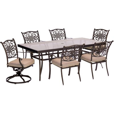 Swatzell 7 Piece Dining Set with Cushions Cushion Color: Natural Oat