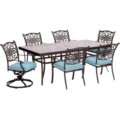 Barryton 7 Piece Dining Set with Cushions Cushion Color: Ocean Blue