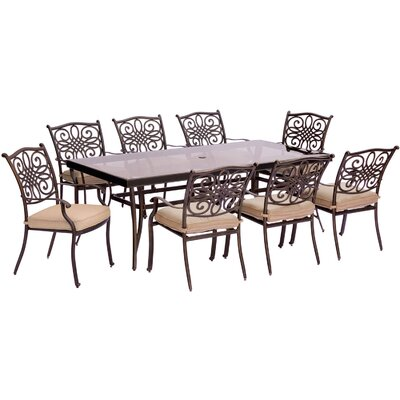 Barryton 9 Piece Modern Dining Set with Cushions Cushion Color: Natural Oat