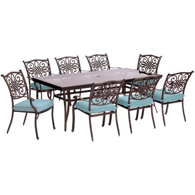 Swatzell 9 Piece Dining Set with Cushions Cushion Color: Blue
