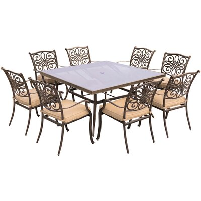 Barryton 9 Piece Square Glass Top Dining Set with Cushions Cushion Color: Natural Oat