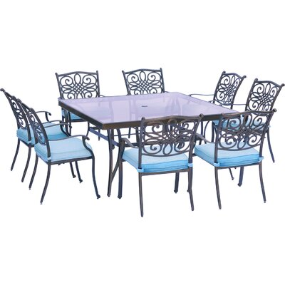 Barryton 9 Piece Square Glass Top Dining Set with Cushions Cushion Color: Ocean Blue