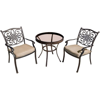 Barryton 3 Piece Aluminum Bistro Set with Cushions Cushion Color: Natural Oat