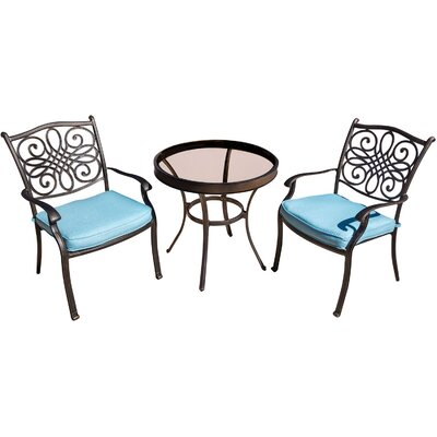 Swatzell 3 Piece Bistro Set with Cushions Cushion Color: Ocean Blue