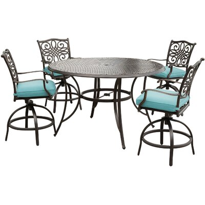 Barryton 5 Piece Aluminum Bar Set with Cushions Cushion Color: Ocean Blue