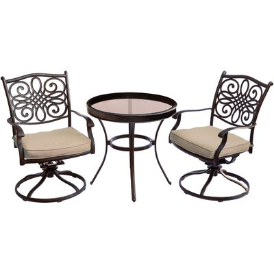 Barryton 3 Piece Bistro Set with Cushions Cushion Color: Natural Oat