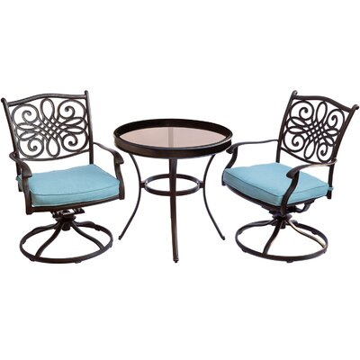 Barryton 3 Piece Bistro Set with Cushions Cushion Color: Blue
