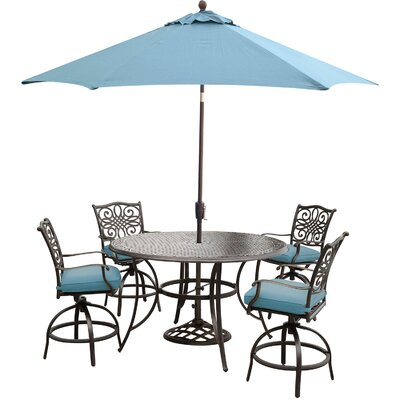 Barryton 5 Piece Bar Set with Cushions Cushion Color: Ocean Blue