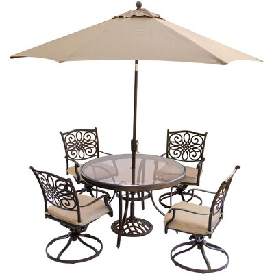 Barryton 5 Piece Dining Set with Cushions and Umbrella Cushion Color: Natural Oat