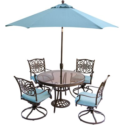Barryton 5 Piece Dining Set with Cushions and Umbrella Cushion Color: Blue