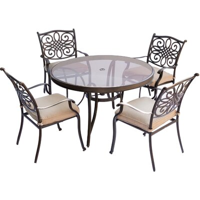 Barryton 5 Piece Dining Set with Cushions Cushion Color: Natural Oat