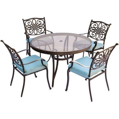 Barryton 5 Piece Dining Set with Cushions Cushion Color: Ocean Blue