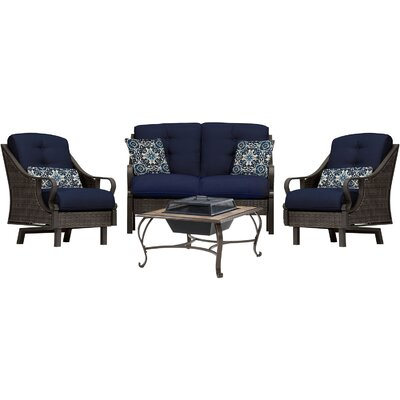 Sherwood 4 Piece Deep Seating Group with Cushions Finish: Navy Blue