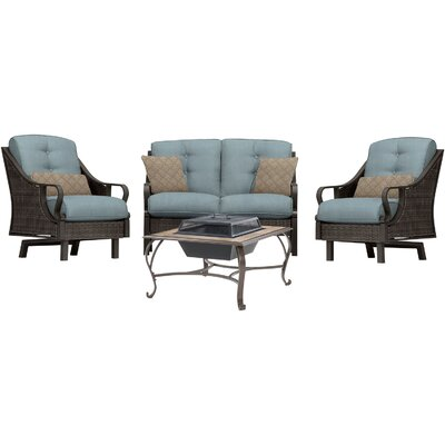 Sherwood 4 Piece Deep Seating Group with Cushions Finish: Ocean Blue