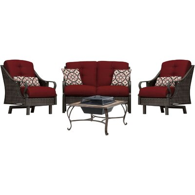 Sherwood 4 Piece Deep Seating Group with Cushions Finish: Crimson Red