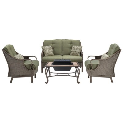 Sherwood 4 Piece Deep Seating Group with Cushions Finish: Vintage Meadow