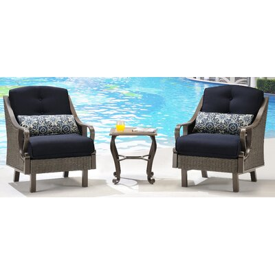 Sherwood 3 Piece Deep Seating Group with Cushions Finish: Navy Blue