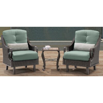 Sherwood 3 Piece Deep Seating Group with Cushions Finish: Ocean Blue