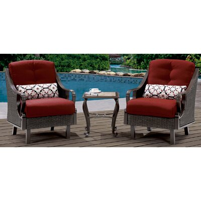 Swayze 3 Piece Deep Seating Group with Cushions Finish: Crimson Red