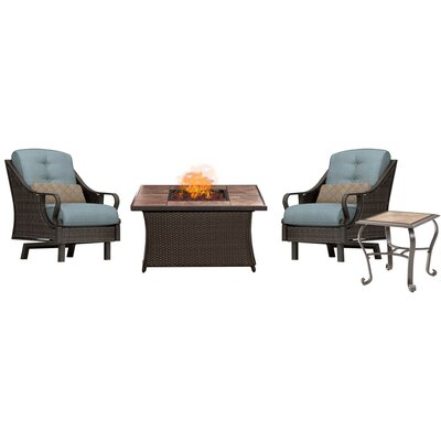 Sherwood 4 piece Fire Pit 2 Person Dark Brown Seating Group with Cushions Fabric: Blue