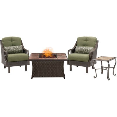 Sherwood 4 piece Fire Pit 2 Person Dark Brown Seating Group with Cushions Fabric: Green