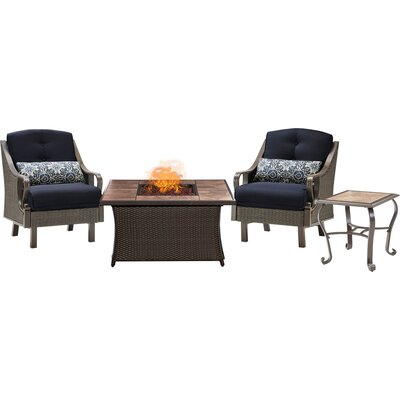Sherwood 4 piece Fire Pit 2 Person Dark Brown Seating Group with Cushions Fabric: Navy