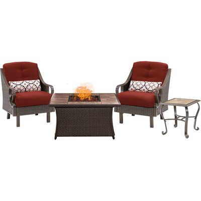 Sherwood 4 piece Fire Pit 2 Person Dark Brown Seating Group with Cushions Fabric: Red