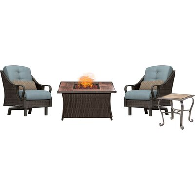 Sherwood 4 Piece Fire Pit 2 Person Seating Group with Cushions Fabric: Blue