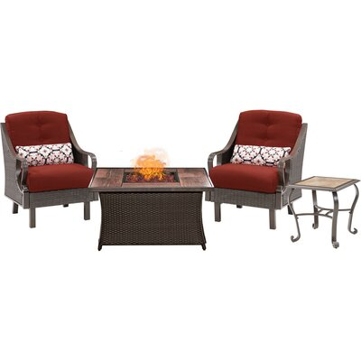 Sherwood 4 Piece Fire Pit 2 Person Seating Group with Cushions Fabric: Red