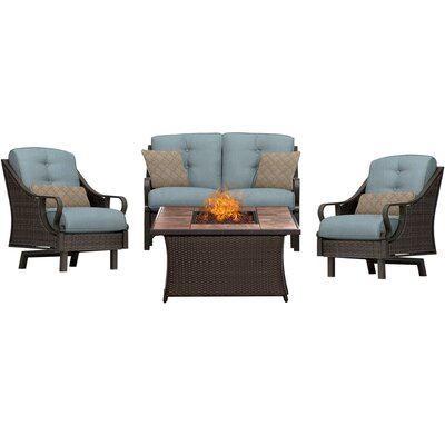 Sherwood 4 Piece Fire Pit Dark Brown Deep Seating Group with Cushions Fabric: Blue