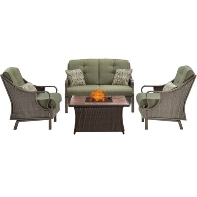 Sherwood 4 Piece Fire Pit Dark Brown Deep Seating Group with Cushions Fabric: Green