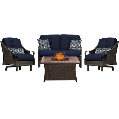 Sherwood 4 Piece Fire Pit Dark Brown Deep Seating Group with Cushions Fabric: Navy