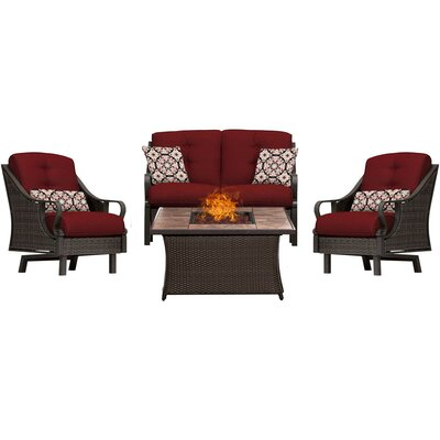 Sherwood 4 Piece Fire Pit Dark Brown Deep Seating Group with Cushions Fabric: Red