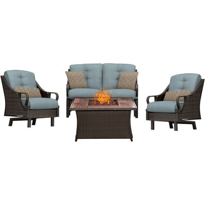 Sherwood 4 Piece Fire Pit Deep Seating Group with Cushions Fabric: Blue