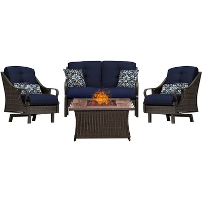 Sherwood 4 Piece Fire Pit Deep Seating Group with Cushions Fabric: Navy