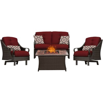Sherwood 4 Piece Fire Pit Deep Seating Group with Cushions Fabric: Red