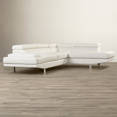 Cosimo Right Hand Facing Sectional Upholstery: White