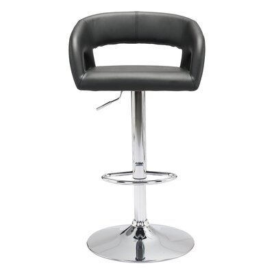 Cosmas Adjustable Height Bar Stool Upholstery: Black