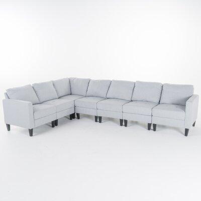 Swick Fabric 7 Piece Sectional Upholstery: Light Gray