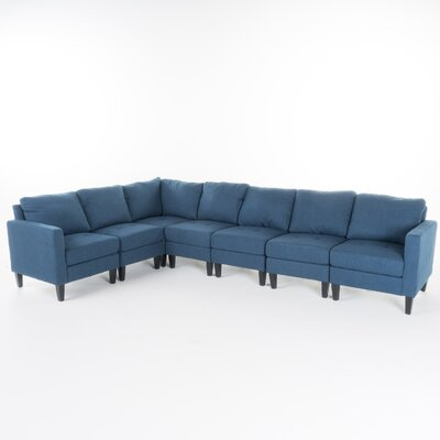 Swick Fabric 7 Piece Sectional Upholstery: Dark Blue
