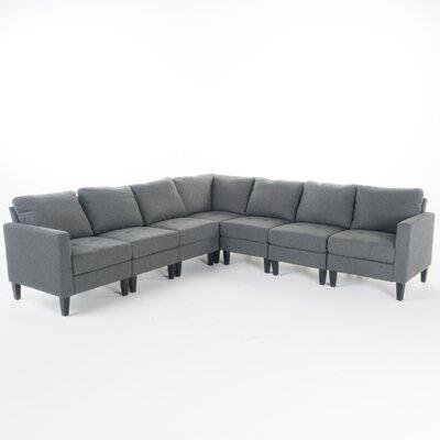 Swick Fabric 7 Piece Sectional Upholstery: Dark Gray