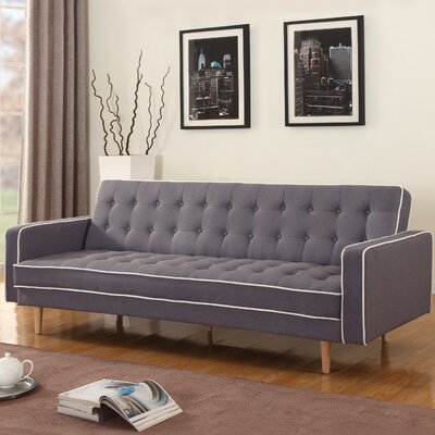 Corlane Mid-Century Modern 2 Tone Convertible Sofa Color: Dark Gray