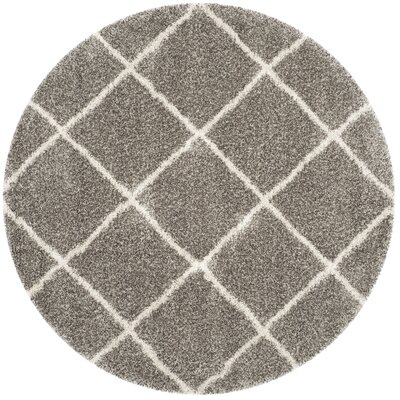 Hampstead Gray Shag Area Rug Rug Size: Round 9