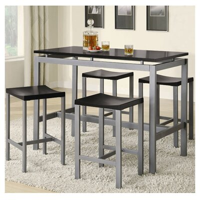 Swigart 5 Piece Pub Table Set Finish: Black